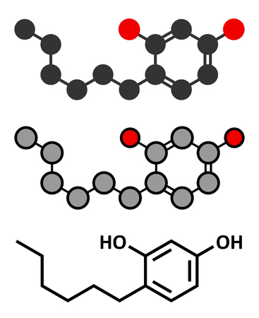 anaesthetic: Hexylresorcinol molecule. Has anaesthetic, antiseptic and anthelmintic properties. Conventional skeletal formula and stylized representations. Illustration