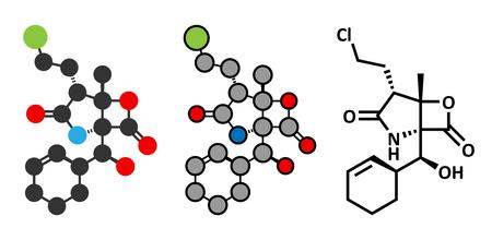 tropica: Marizomib (salinosporamide A) cancer drug molecule (proteasome inhibitor). Conventional skeletal formula and stylized representations. Illustration