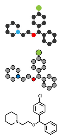 Cloperastine cough suppressant drug molecule. Conventional skeletal formula and stylized representations.