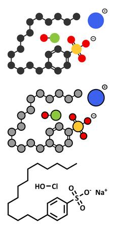 Sodium oxychlorosene antiseptic molecule. Conventional skeletal formula and stylized representations.