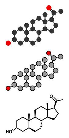 Allopregnanolone drug molecule. Conventional skeletal formula and stylized representations.