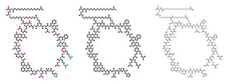 Semaglutide diabetes drug molecule (incretin agonist). Conventional skeletal formula and stylized representations. Illustration