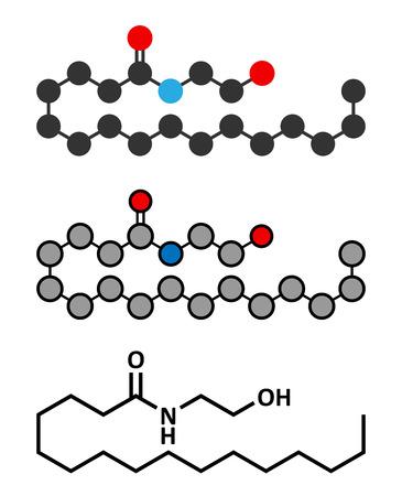 Palmitoylethanolamide (PEA) drug molecule. Conventional skeletal formula and stylized representations. Illustration