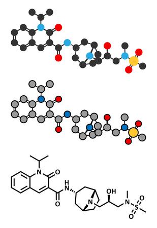 gastroparesis: Velusetrag gastroparesis drug molecule. Conventional skeletal formula and stylized representations. Illustration