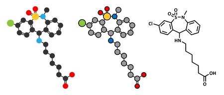 bowel: Tianeptine antidepressant drug molecule. Conventional skeletal formula and stylized representations. Illustration