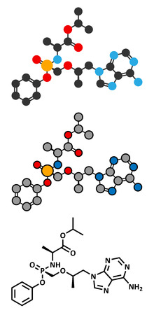hbv: Tenofovir alafenamide antiviral drug molecule (prodrug of tenofovir). Conventional skeletal formula and stylized representations.