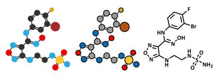 inhibition: Epacadostat cancer drug molecule (indoleamine 2,3-dioxygenase inhibitor). Conventional skeletal formula and stylized representations.