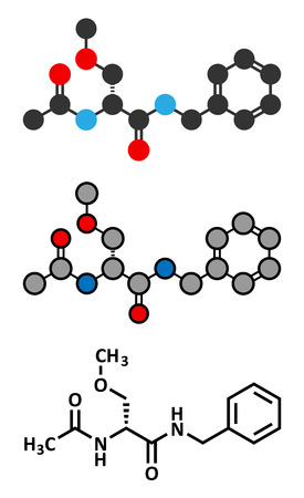 neuropathic: Lacosamide anticonvulsant drug molecule. Conventional skeletal formula and stylized representations. Illustration