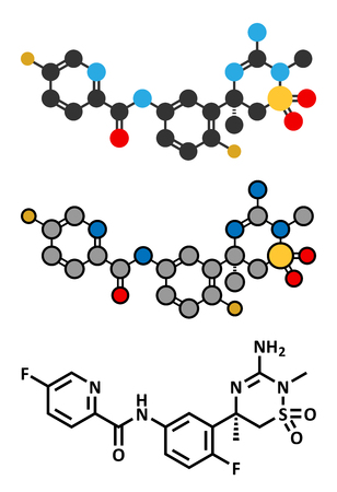 Verubecestat Alzheimers disease drug molecule (BACE1 inhibitor). Conventional skeletal formula and stylized representations. Illustration