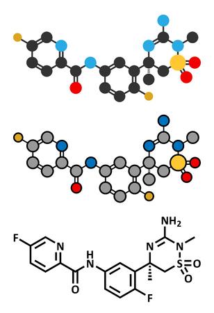 protease: Verubecestat Alzheimers disease drug molecule (BACE1 inhibitor). Conventional skeletal formula and stylized representations. Illustration