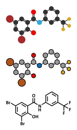 Fluorosalan antiseptic molecule. Conventional skeletal formula and stylized representations. Illustration