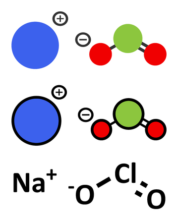Sodium chlorite, chemical structure. Conventional skeletal formula and stylized representations. Illustration
