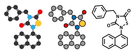 apoptosis: Tideglusib drug molecule (GSK-3 inhibitor). Conventional skeletal formula and stylized representations.