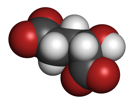 biomarker: 2-hydroxyglutarate molecule. 3D rendering. Atoms are represented as spheres with conventional color coding: hydrogen (white), carbon (grey), oxygen (red).