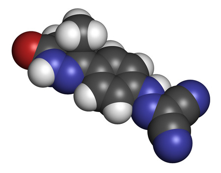 Levosimendan heart failure drug molecule. 3D rendering. Atoms are represented as spheres with conventional color coding: hydrogen (white), carbon (grey), nitrogen (blue), oxygen (red). Stock Photo
