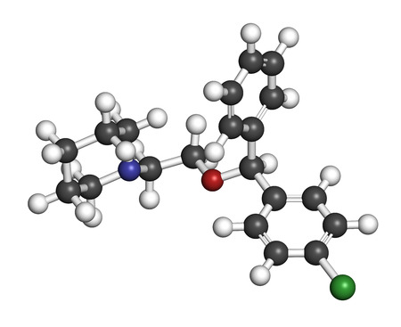 Cloperastine cough suppressant drug molecule. 3D rendering. Atoms are represented as spheres with conventional color coding: hydrogen (white), carbon (grey), nitrogen (blue), oxygen (red), chlorine (green).