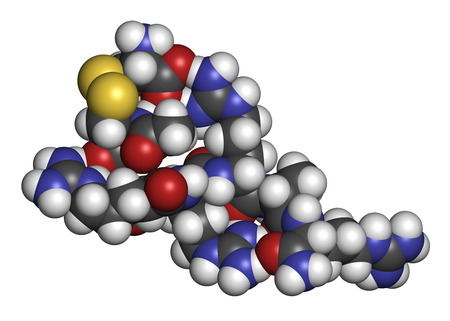 Etelcalcetide drug molecule. 3D rendering. Atoms are represented as spheres with conventional color coding: hydrogen (white), carbon (grey), nitrogen (blue), oxygen (red), sulfur (yellow).