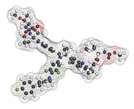 protease: Pibrentasvir hepatitis C virus drug molecule. 3D rendering. Atoms are represented as spheres with conventional color coding: hydrogen (white), carbon (grey), nitrogen (blue), oxygen (red), fluorine (light green).