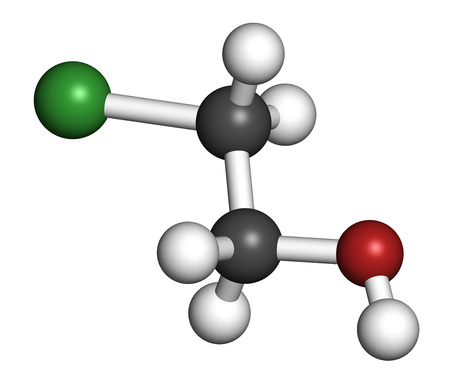 Ethylene chlorohydrin molecule. Side product formed during ethylene oxide sterilization. 3D rendering. Atoms are represented as spheres with conventional color coding: hydrogen (white), carbon (grey), oxygen (red), chlorine (green).