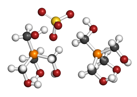 tetrakis(hydroxymethyl)phosphonium sulfate (THPS) biocide molecule. 3D rendering. Atoms are represented as spheres with conventional color coding: hydrogen (white), carbon (grey), oxygen (red), sulfur (yellow), phosphorus (orange).