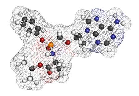 Tenofovir alafenamide antiviral drug molecule (prodrug of tenofovir). 3D rendering. Atoms are represented as spheres with conventional color coding: hydrogen (white), carbon (grey), nitrogen (blue), oxygen (red), phosphorus (orange).