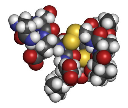 Plecanatide chronic idiopathic constipation drug molecule. 3D rendering. Atoms are represented as spheres with conventional color coding: hydrogen (white), carbon (grey), nitrogen (blue), oxygen (red), sulfur (yellow). Stock Photo