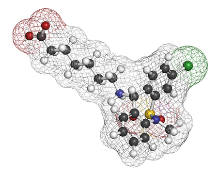 irritable bowel syndrome: Tianeptine antidepressant drug molecule. 3D rendering. Atoms are represented as spheres with conventional color coding: hydrogen (white), carbon (grey), oxygen (red), sulfur (yellow), chlorine (green). Stock Photo