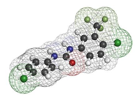 lavamanos: Molécula desinfectante Cloflucarban. Representación 3D. Los átomos se representan como esferas con codificación de colores convencionales: hidrógeno (blanco), carbono (gris), oxígeno (rojo), nitrógeno (azul), cloro (verde), flúor (verde claro).