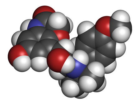 Olodaterol COPD drug molecule (ultra-LABA class). 3D rendering. Atoms are represented as spheres with conventional color coding: hydrogen (white), carbon (grey), nitrogen (blue), oxygen (red). Stock Photo