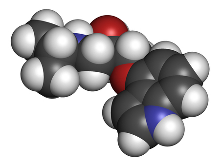 Pindolol beta blocker drug molecule. 3D rendering. Atoms are represented as spheres with conventional color coding: hydrogen (white), carbon (grey), nitrogen (blue), oxygen (red). Stock Photo