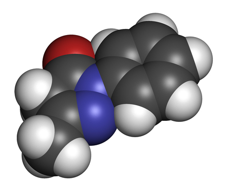 Edaravone drug molecule. 3D rendering. Atoms are represented as spheres with conventional color coding: hydrogen (white), carbon (grey), nitrogen (blue), oxygen (red). Stock Photo