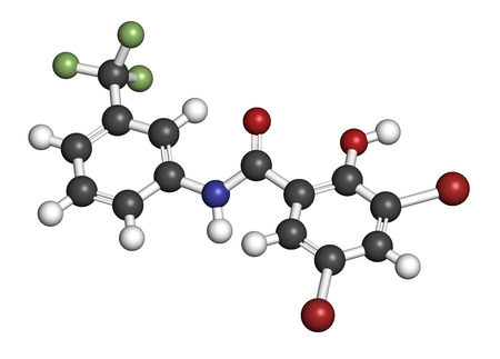 Fluorosalan antiseptic molecule. 3D rendering. Atoms are represented as spheres with conventional color coding: hydrogen (white), carbon (grey), oxygen (red), nitrogen (blue), bromine (brown), fluorine (light green). Stock Photo