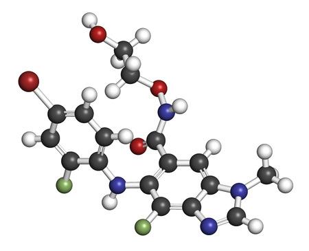 fluorine: Binimetinib cancer drug molecule (MEK inhibitor). 3D rendering. Atoms are represented as spheres with conventional color coding: hydrogen (white), carbon (grey), nitrogen (blue), oxygen (red), bromine (brown), fluorine (light green).