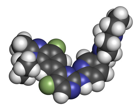 Abemaciclib cancer drug molecule (CDK inhibitor). 3D rendering. Atoms are represented as spheres with conventional color coding: hydrogen (white), carbon (grey), nitrogen (blue), fluorine (light green).