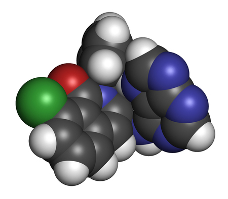 Duvelisib cancer drug molecule (phosphoinositide 3-kinase inhibitor). 3D rendering. Atoms are represented as spheres with conventional color coding: hydrogen (white), carbon (grey), nitrogen (blue), oxygen (red), chlorine (green).