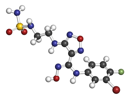 inhibition: Epacadostat cancer drug molecule (indoleamine 2,3-dioxygenase inhibitor). 3D rendering. Atoms are represented as spheres with conventional color coding: hydrogen (white), carbon (grey), nitrogen (blue), oxygen (red), sulfur (yellow), bromine (brown), fluo