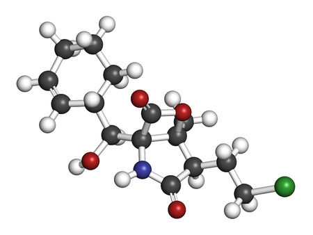 tropica: Marizomib (salinosporamide A) cancer drug molecule (proteasome inhibitor). 3D rendering. Atoms are represented as spheres with conventional color coding: hydrogen (white), carbon (grey), nitrogen (blue), oxygen (red), chlorine (green). Stock Photo