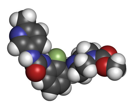 Omecamtiv mecarbil heart failure drug molecule. 3D rendering. Atoms are represented as spheres with conventional color coding: hydrogen (white), carbon (grey), oxygen (red), fluorine (light green). Stock Photo