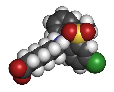 Tianeptine antidepressant drug molecule. 3D rendering. Atoms are represented as spheres with conventional color coding: hydrogen (white), carbon (grey), oxygen (red), sulfur (yellow), chlorine (green). Stock Photo
