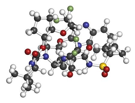 hidrógeno: Glecaprevir molécula del fármaco del virus de la hepatitis C. Representación 3D. Los átomos se representan como esferas con la codificación de color convencional: hidrógeno (blanco), carbono (gris), nitrógeno (azul), oxígeno (rojo), azufre (amarillo), flúor (verde claro). Foto de archivo