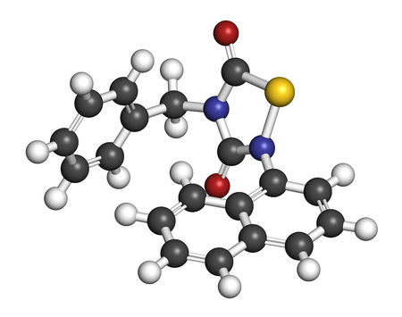 apoptosis: Tideglusib drug molecule (GSK-3 inhibitor). 3D rendering. Atoms are represented as spheres with conventional color coding: hydrogen (white), carbon (grey), nitrogen (blue), oxygen (red), sulfur (yellow). Stock Photo