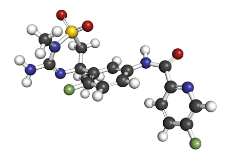 Verubecestat Alzheimers disease drug molecule (BACE1 inhibitor). 3D rendering. Atoms are represented as spheres with conventional color coding: hydrogen (white), carbon (grey), nitrogen (blue), oxygen (red), sulfur (yellow), fluorine (light green).