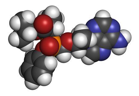 white phosphorus: Tenofovir alafenamide antiviral drug molecule (prodrug of tenofovir). 3D rendering. Atoms are represented as spheres with conventional color coding: hydrogen (white), carbon (grey), nitrogen (blue), oxygen (red), phosphorus (orange).