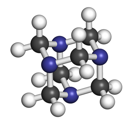 Methenamine molecule. Uses as an antiseptic drug and in solid fuel tablets. 3D rendering. Atoms are represented as spheres with conventional color coding: hydrogen (white), carbon (grey), nitrogen (blue).