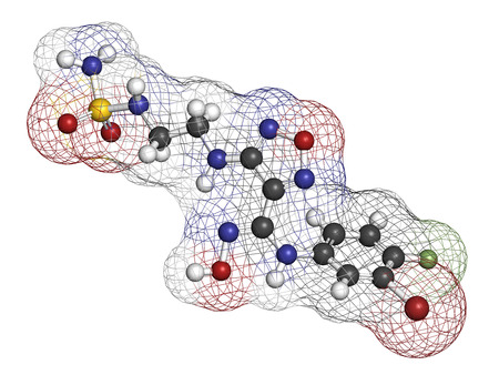 Epacadostat cancer drug molecule (indoleamine 2,3-dioxygenase inhibitor). 3D rendering. Atoms are represented as spheres with conventional color coding: hydrogen (white), carbon (grey), nitrogen (blue), oxygen (red), sulfur (yellow), bromine (brown), fluo