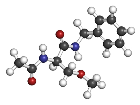 Lacosamide anticonvulsant drug molecule. 3D rendering. Atoms are represented as spheres with conventional color coding: hydrogen (white), carbon (grey), nitrogen (blue), oxygen (red).
