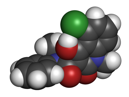 Laquinimod multiple sclerosis drug molecule. 3D rendering. Atoms are represented as spheres with conventional color coding: hydrogen (white), carbon (grey), nitrogen (blue), oxygen (red), chlorine (green). Stock Photo