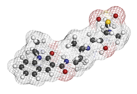 Velusetrag gastroparesis drug molecule. 3D rendering. Atoms are represented as spheres with conventional color coding: hydrogen (white), carbon (grey), nitrogen (blue), oxygen (red), sulfur (yellow). Stock Photo