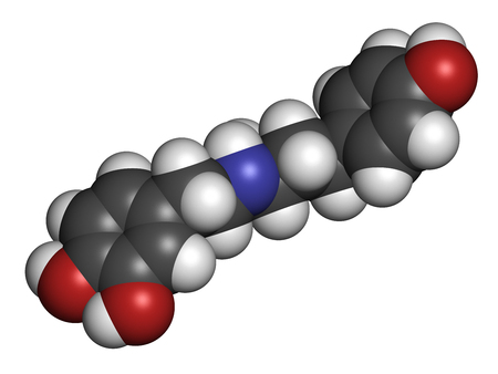 Dobutamine sympathomimetic drug molecule. 3D rendering. Atoms are represented as spheres with conventional color coding: hydrogen (white), carbon (grey), nitrogen (blue), oxygen (red). Stock Photo