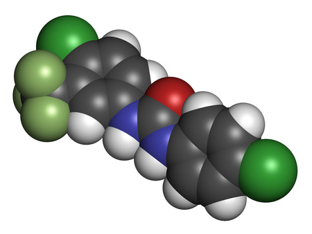 Cloflucarban disinfectant molecule. 3D rendering. Atoms are represented as spheres with conventional color coding: hydrogen (white), carbon (grey), oxygen (red), nitrogen (blue), chlorine (green), fluorine (light green).